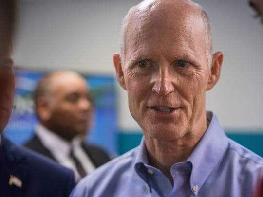 Gov. Rick Scott spoke Wednesday, Nov. 8, 2017, at a press conference at Global Business Solutions Inc. in Pensacola about his $180 million tax-cut proposal.