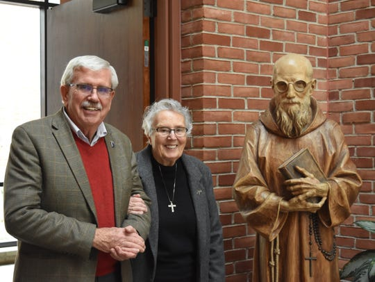James Conley of Miami Beach, Fla., and Sister Anne Herkenrath, a nun from Seattle, great-nephew and great-niece of Casey, visited the monastery in January.