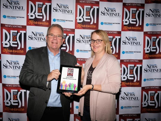 Ben Landers and Brewton Couch, representing the United Way of Greater Knoxville, were named best local charity at the Knoxville News Sentinel's Best of Knoxville event in 2017.