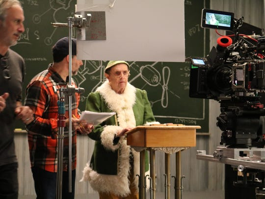 Bob Newhart on the set of Kentucky Lottery commercial