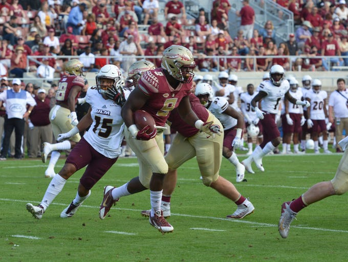 FSU junior running back Jacques Patrick (9) carrying
