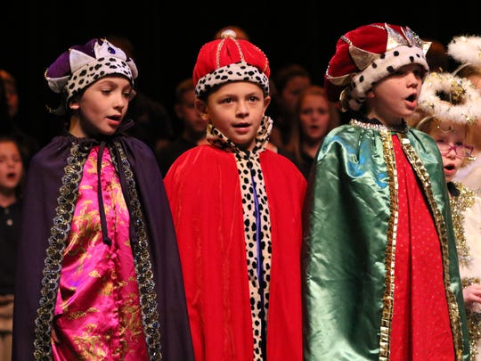 Ryder Hagan, Sutton Sheffer, and Parker Greenwell dressed as the three kings.