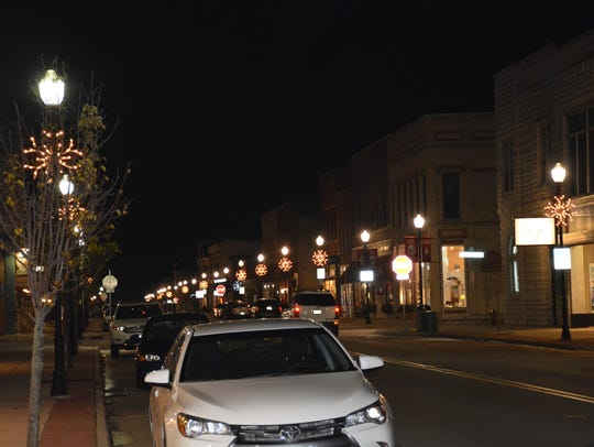 Downtown Sturgeon Bay at night Monday, Dec. 4, 2017.