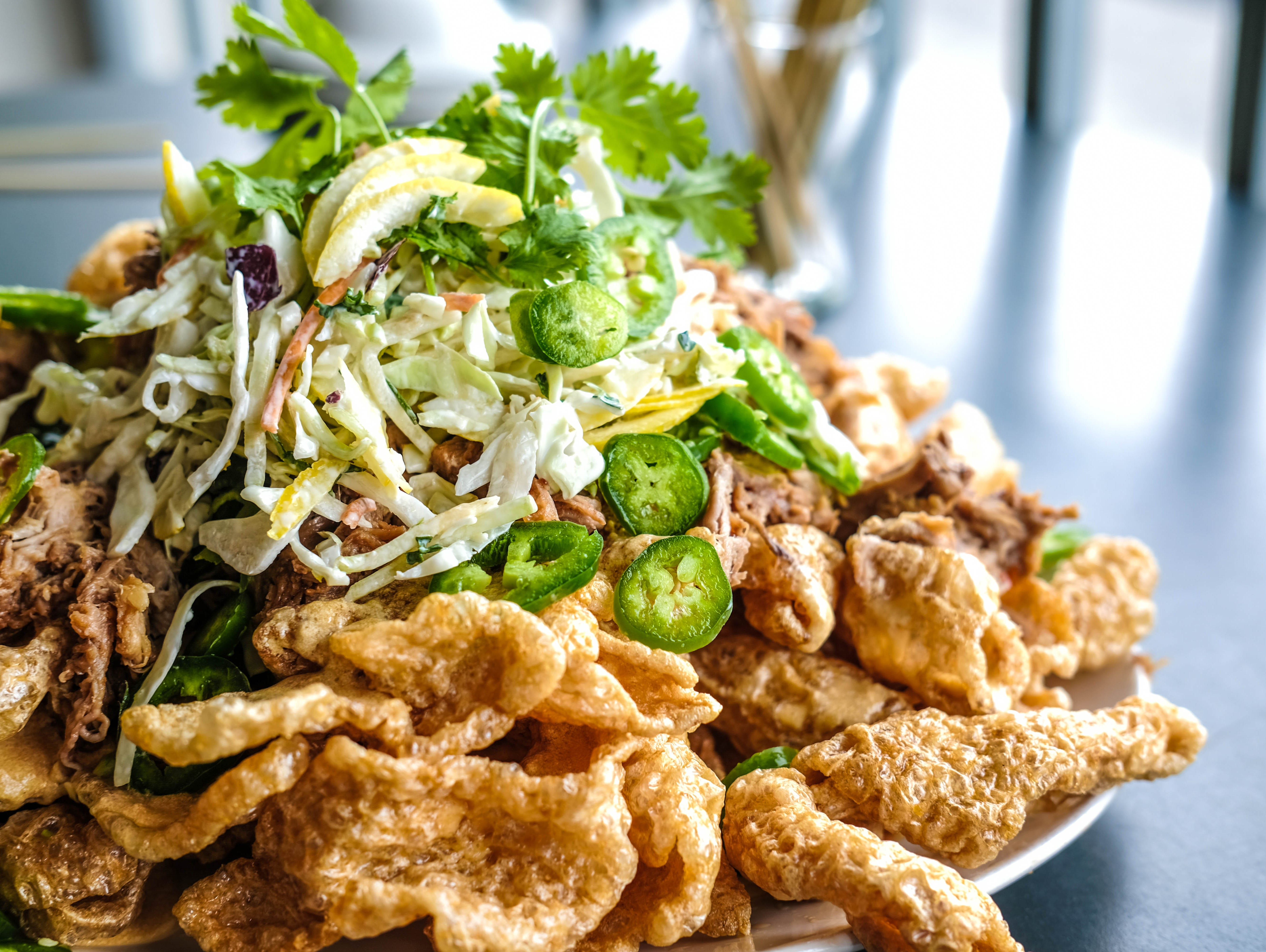 Pork rind nachos recipe courtesy of Ray Lampe and Taste of the NFL.