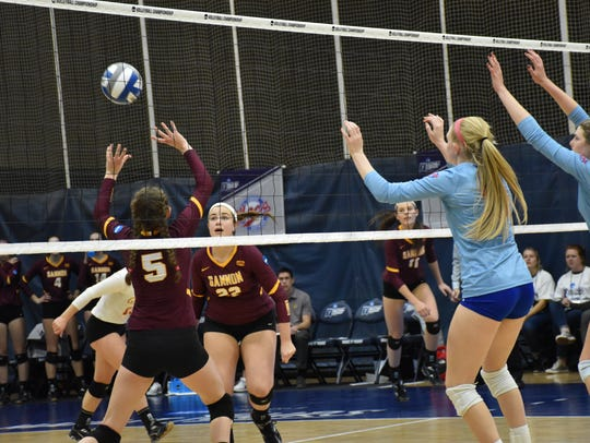 Gannon University players set up for a shot in Friday