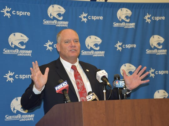 Steve Campbell, Tate High graduate, addresses gathering at the South Alabama Jaguars football complex after being introduced Friday in Mobile as the team's new football coach.