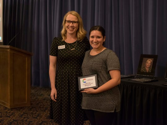Jessie Fisher is shown with Cornerstone Center for the Arts dance instructor Kayla Kern, the 2017 Beth Turcotte Arts Education Achievement recipient.