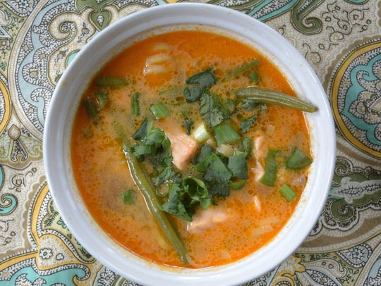 Turnip noodles hold up well in this salmon curry dish.