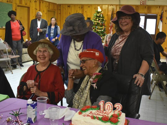 Mattison laughs with friends in this Daily News files photo during her 102nd birthday party the Calvary Baptist Church threw last year.