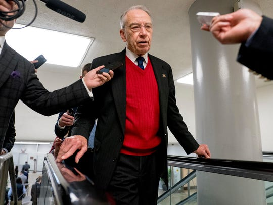 Sen. Chuck Grassley, R-Ia., speaks to reporters as