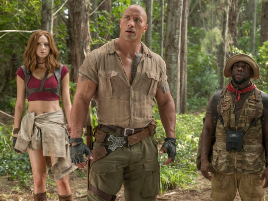 Karen Gillan, from left, Dwayne Johnson and Kevin Hart in 'Jumanji: Welcome to the Jungle.'