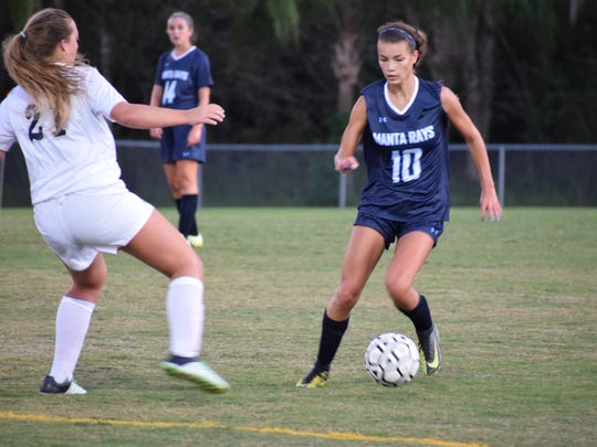Marco Island Academy sophomore Savannah Heimerl dribbles the ball past her defender in a game against Community School earlier this year.