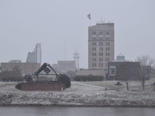 Downtown Alexandria had a light dusting of snow Tuesday, Jan. 16, 207.