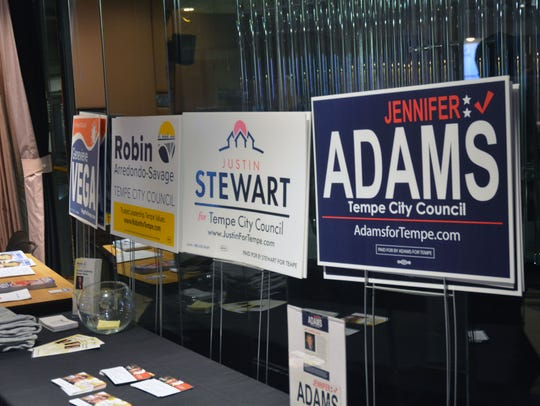 Campaign signs and material was posted at the back