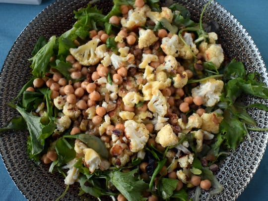 Roasted Cauliflower Salad with Chickpeas and Pistachios