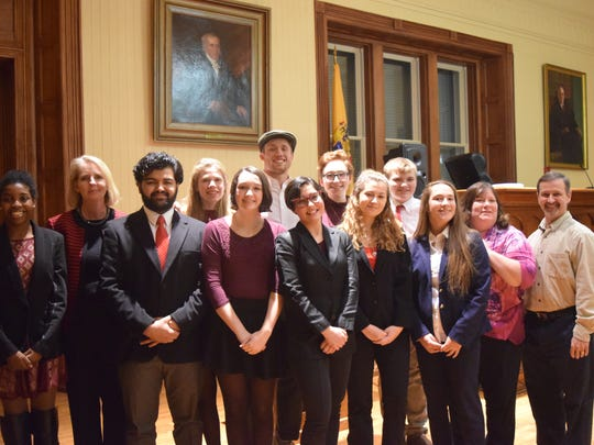 A team from Voorhees High School came in first place in the 2018 Hunterdon County High School Mock Trial Competition. Pictured with their coaches are: back row (left to right): Susan O'Connor, Esq., Madison Davis, Jonathan Davis, Corinne Richter, and Tyler Cashman; and front row (left to right) Sierra Sainte Rose, Ibrahim Khan, Livia Connell, Isabella Hanley, Fallyn Smadi ,Andrea Delia, Kathy Manz(Teacher/Coach), and Jeff Raefski, Esq.