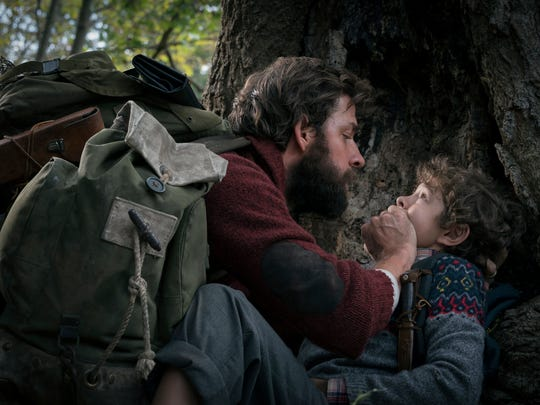 "John Krasinski, left, and Noah Jupe in ""A Quiet Place"""