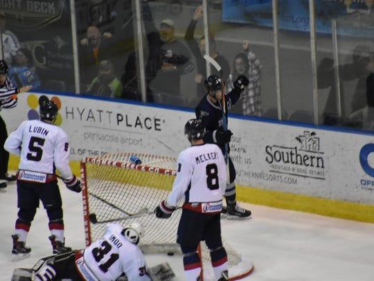 Ice Flyers captain Trevor Hertz celebrates his goal