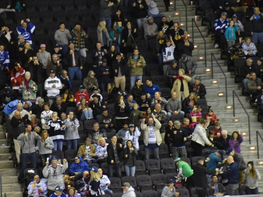 Ice Flyers fans erupt into their goal dance after one of the nine goals scored Friday night against Evansville.