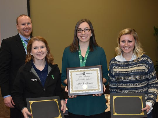 The $500 Whitmore Memorial Scholarship was awarded to Sarah Strathman (center) a junior at UW-Platteville. Finalists Tiffany Bruhn (left) of UW-River Falls and Erica Thomas (right) of UW-Madison were each awarded a $250 scholarship. They are joined by Wisconsin Pork Association President and Youth Committee Chairman Jim Magolski.