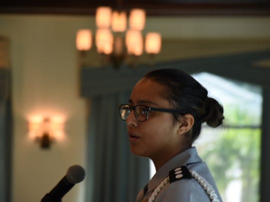 Cadet Ana Uribe with Golden Gate High read an essay about JROTC during an event honoring seven outstanding JROTC students at a Sons of the American Revolution Naples chapter meeting on Feb. 8, 2018. Uribe was one of three cadets who read essays to qualify as the outstanding cadet.