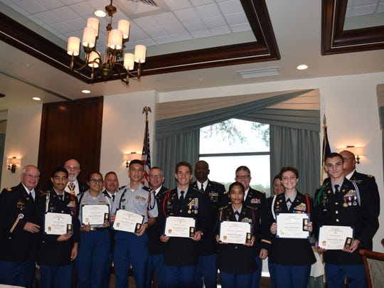 All seven outstanding JROTC students from Collier County