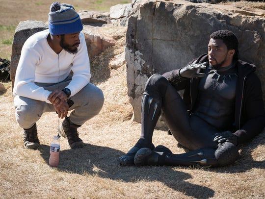 Director Ryan Coogler (left) and Chadwick Boseman talk