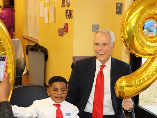 "Attorney George Sink, Sr. celebrates an ""all 9s"" birthday for Landen Shell, 4."