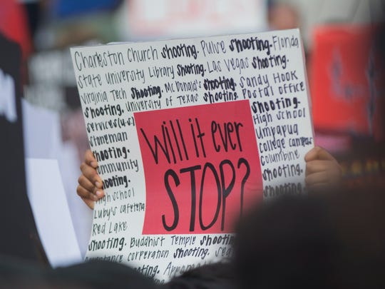 Hundreds of protestors gather at the Florida state Capitol in Tallahassee, Florida, Feb. 21,  2018, after 17 people were killed by a gunman at Marjory Stoneman Douglas High School.
