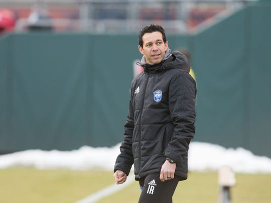 Reno 1868 FC coach Ian Russell watches Saturday's game