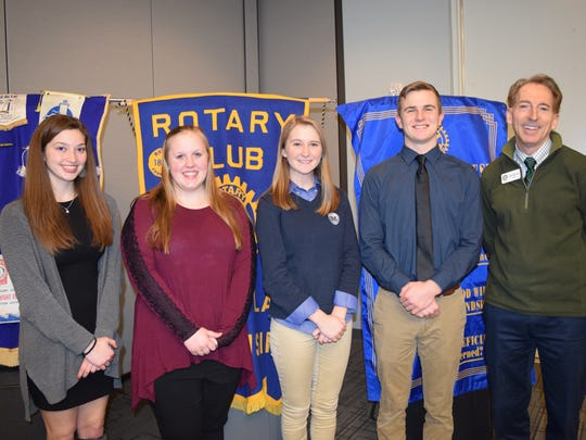 Fond du Lac Noon Rotary named its February guests. Pictured are, from left: Nicole Lord, Leah Tweedy, Sophia Guerin, Samuel Schmitz and President Elect of the Fond du Lac Noon Rotary Dave Hornung.