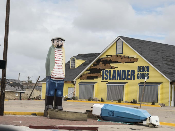 A view just after Hurricane Harvey of the Islander