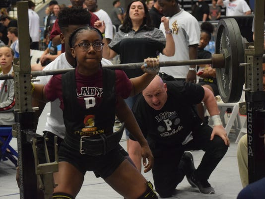 Amaria Sapp of Pineville High School competes in the the 2018 LHSAA/LHSPLA Division I-V Powerlifting Meet held at the Rapides Parish Coliseum Saturday, March 17, 2018. Classes 1A and 2A competed Wednesday and Thursday. Divisions III and II (Classes 3A and 4A) competed Thursday and Friday. Division I (Class 5A) competed Friday and Saturday.