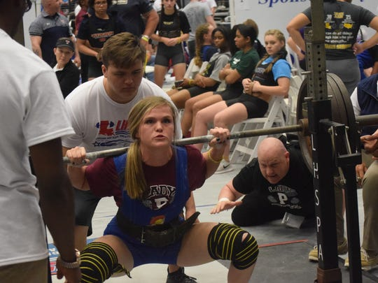 Kara Johnson of Pineville High School competes in the the 2018 LHSAA/LHSPLA Division V Powerlifting Meet held at the Rapides Parish Coliseum Saturday, March 17, 2018. Classes 1A and 2A competed Wednesday and Thursday. Divisions III and II (Classes 3A and 4A) competed Thursday and Friday. Division I (Class 5A) competed Friday and Saturday.