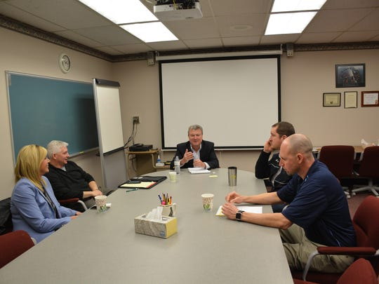 Rep. Joel Kitchens met with regional school superintendents in Sturgeon Bay in March. The group included Gibraltar School District Superintendent Tina VanMeer, left, Denmark School District Superintendent Tony J. Klaubauf, Kitchens, Algoma School District Superintendent Nick Cochart and Sturgeon Bay School District Superintendent Dan Tjernagel.