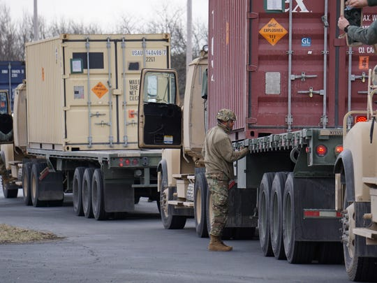 Truckers prepare to have their containers unloaded at Letterkenny Munitions Center in March 2018 as part of Operation Patriot Bandoleer.
