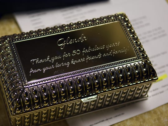 Kmart employees presented Glenda King with this engraved
