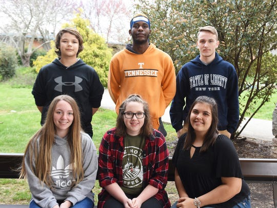 Students selected as Eagles of the Month for February at Gibbs High School include (front) Bethany Wright, Hanna Herrell, Shashauna Boles; (back) Maxamus Stafford, Timothee Buangala and Austin Cooper. Not pictured are Walter Caughorn and Allison Murray.