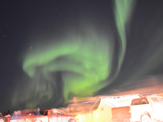 The Northern Lights over the 2018 De Beers Inspired Ice International Ice Carving Competition.