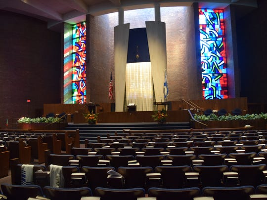 The bright, colorful sanctuary of Temple Beth El.