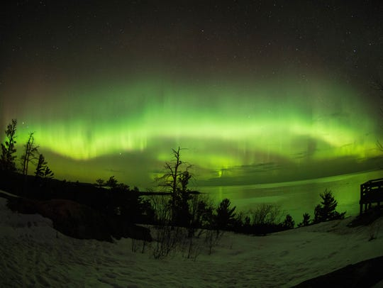 The northern lights seen from Marquette, Mich. on April