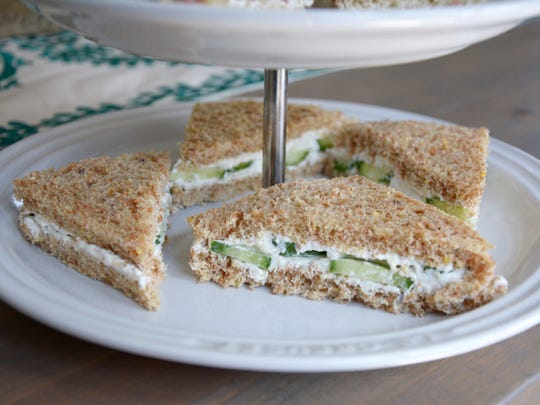 Cucumber and cream cheese sandwiches are a natural