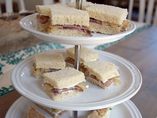 Caramelized Onion and Roast Beef Tea Sandwiches will please the meat eaters at your royal wedding party.