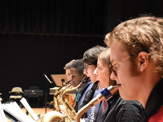 Collier, Lee teens with Naples Philharmonic Youth Jazz Orchestra rehearse on April 25, 2018 at Artis—Naples for an upcoming show.
