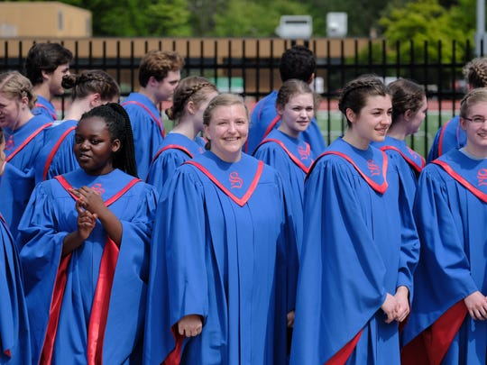 South Salem High School students take part in the OSAA Choir State Championships at George Fox University in Newberg, Ore., on May 5, 2018. South Salem won second place in the 6A division.