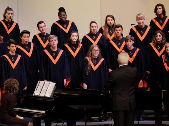 Sprague High School students take part in the OSAA Choir State Championships at George Fox University in Newberg, Ore., on May 5, 2018. Sprague won fourth place in the 6A division.