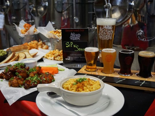 Food and beer paired at Mother Bunch Brewing, one of the tour stops along one of Arizona Brewery Tours' routes.