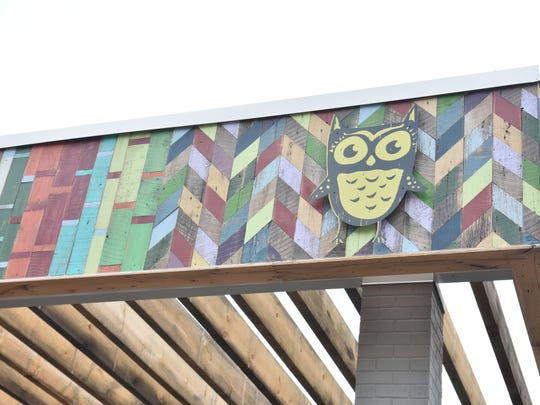 A close-up of the colorful wood work at Smoky Mountain Vintage Lumber.