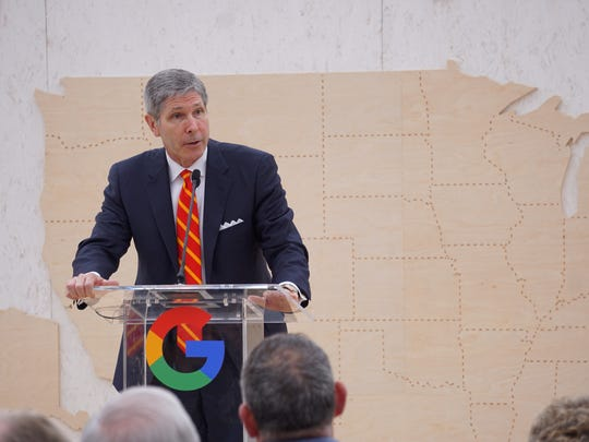 Bob Rolfe, Tennessee's commissioner of economic development, addresses the audience at the groundbreaking for a Google data center in Clarksville, Tennessee.