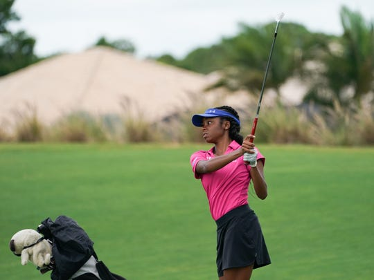Lauren Prince of Hampton University hits her shot on the 18th hole of the Ryder course during Round Two for the 32nd PGA Minority Collegiate Championship at PGA Golf Club on May 12, 2018 in Port St. Lucie.